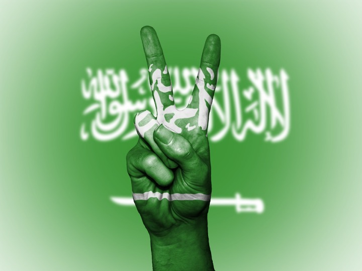 Banner Saudi Arabia Hand Background Peace Nation